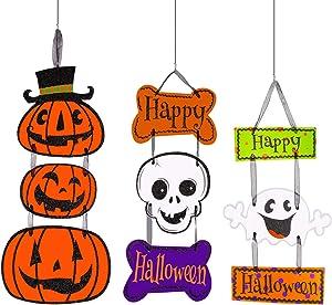 Konsait Halloween Hanging Sign Decorations, Ghost Pumpkin Skull Trick or Treat Door & Wall Signs for Indoor Outdoor Home School Office Haunted House Yard Halloween Party Decorations(Pack of 3)