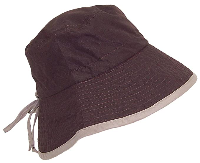 Womens Reversible Summer Floppy Bucket Hat W Adjustable Pull String (One  Size) Brown 0ad60b3278e