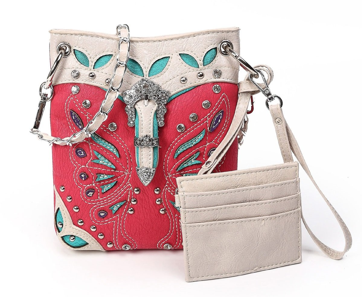 Cowgirl Trendy Petite Western Faux Leather Cross Body Evening Purse Pink