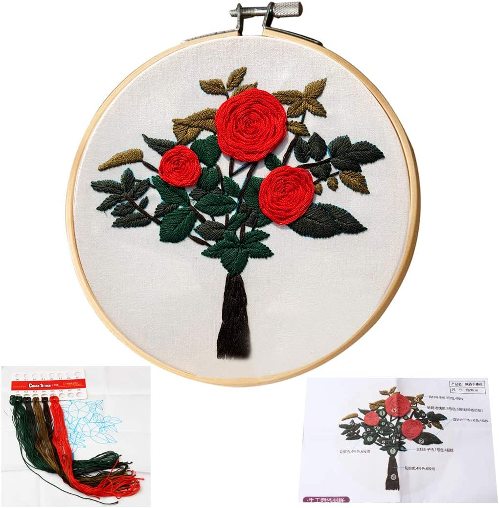 DIY Handmade Embroidery Starter Kit for Adult Beginner Blue kuou Embroidery Kit