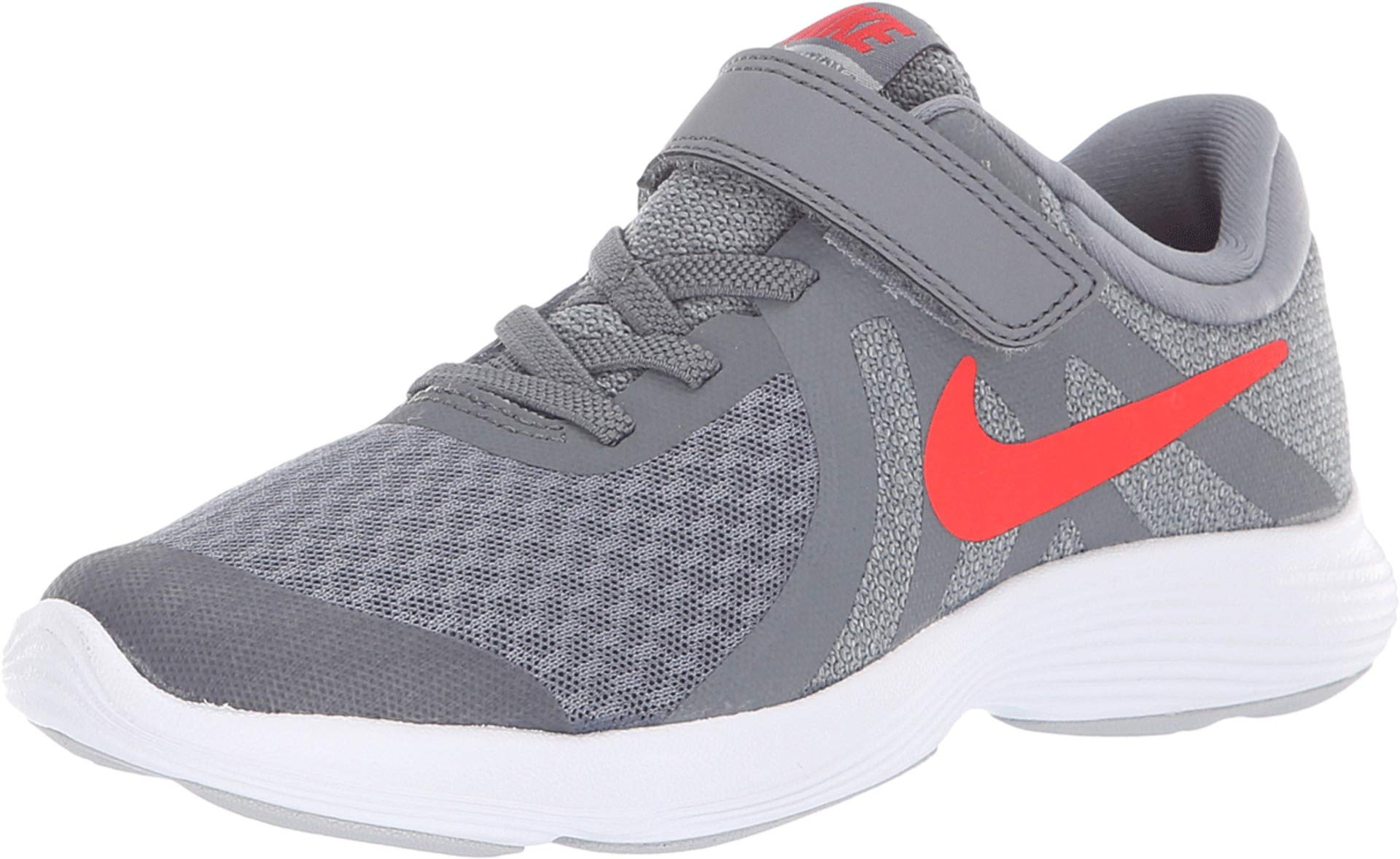 Nike Boy's Revolution 4 (PSV) Running Shoes (2.5 M Little Kid US, Cool Grey/Habanero red/Wolf Grey/White)