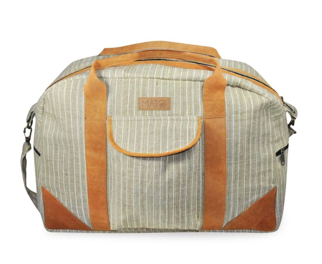 Mato Hemp Duffel Bag Overnight Travel Weekender Luggage Carry On Handbag Suede Leather