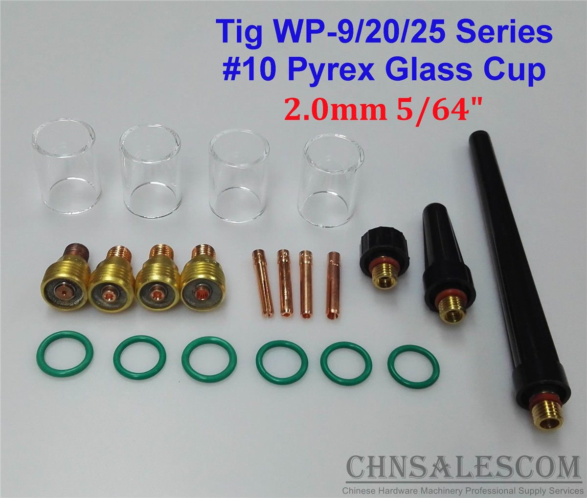 CHNsalescom 21 pcs TIG Welding Gas Lens #10 Pyrex Glass Cup Kit for WP-9/20/25 2.0mm 5/64'