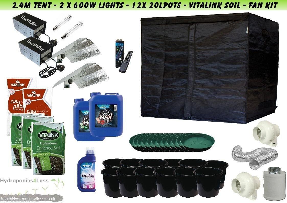"""Hydroponic Loft Tent Kit 600W HPS Dual Bulb 600W Plastic Ballast 5/"""" Filter Kit"""