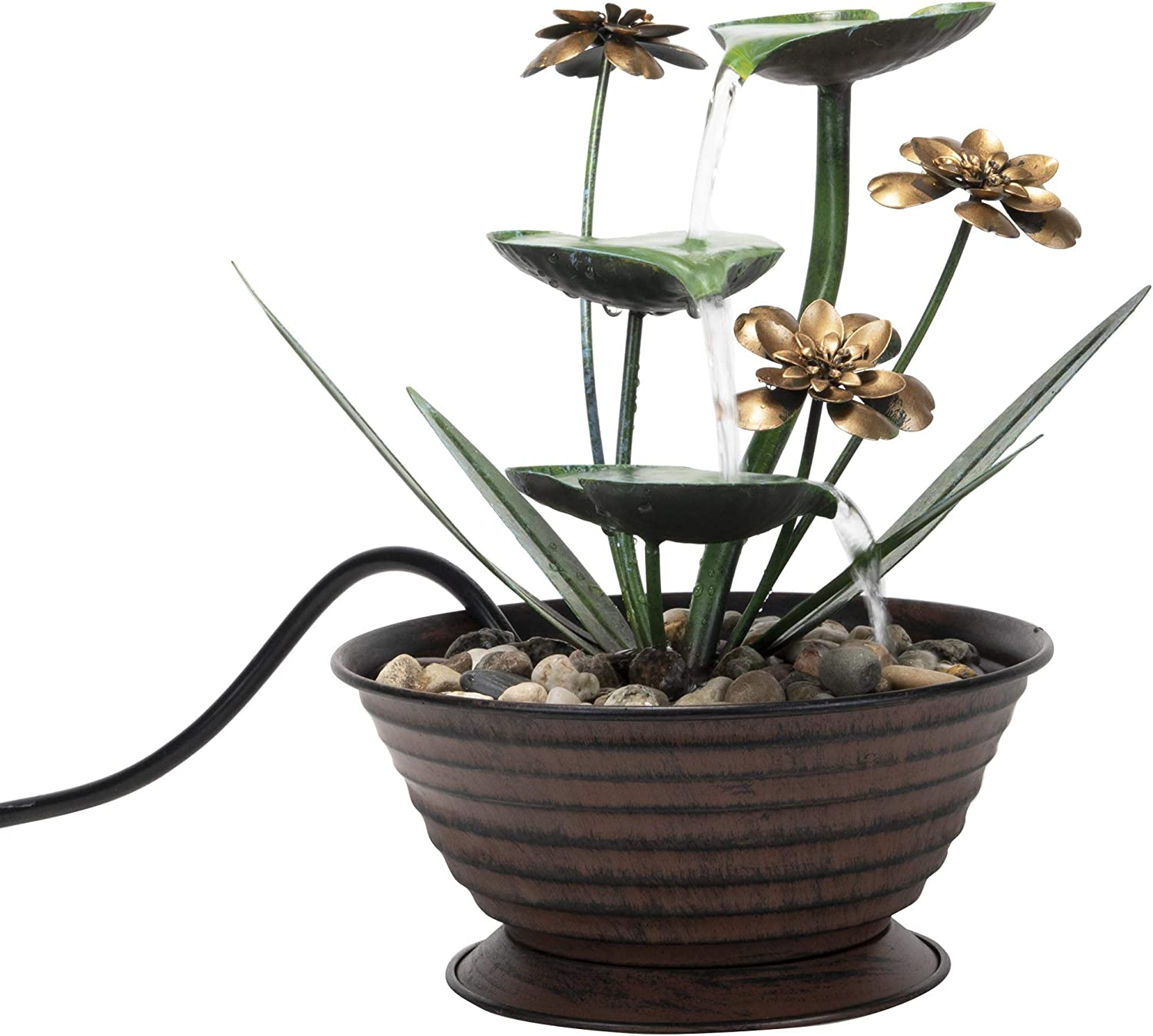 Foreside Home & Garden Lily Pad Indoor Water Fountain With Pump