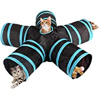 Rubik Cat Tunnel Toy 5 Way Tunnels Extensible Foldable Portable Durable Tunnel Toys with Bell Gift for Pet (Blue/Black)