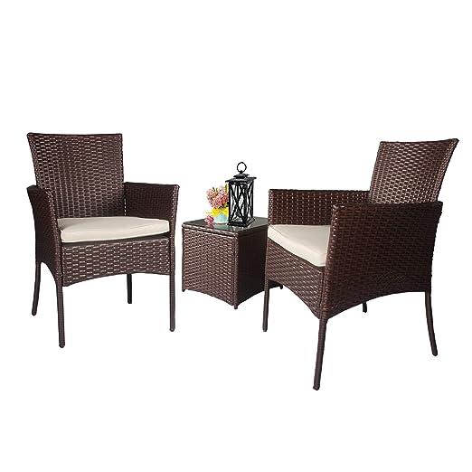 Homevibes muebles de patio 3 piezas mimbre exterior bistro ...