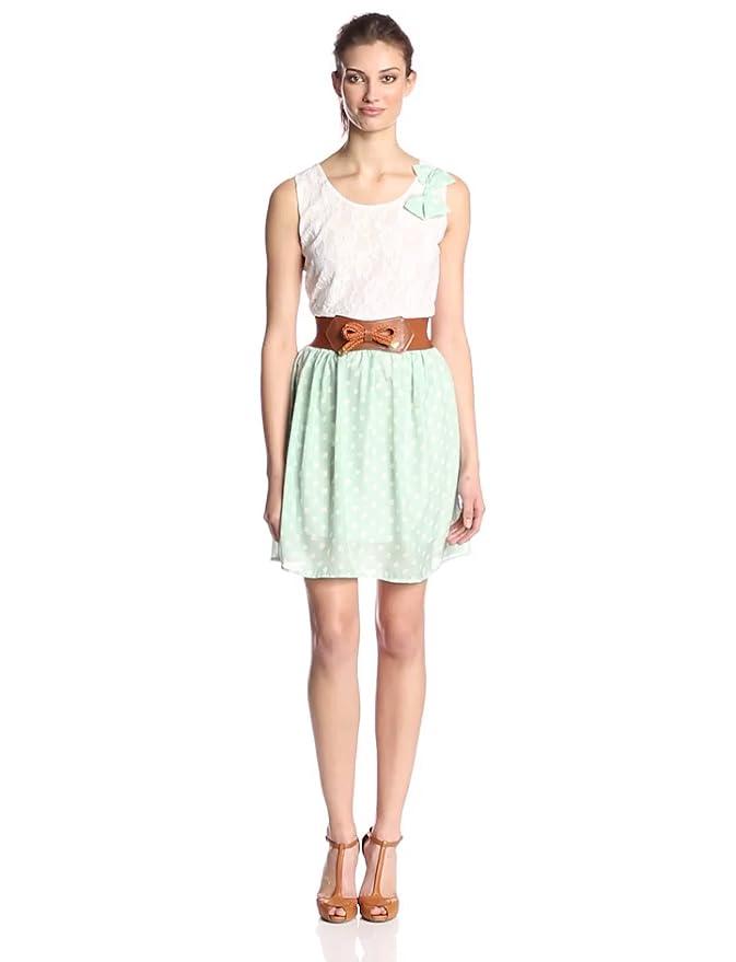 823deb9564 Allegra K Women s Scoop Neck Sleeveless Lace Upper Detail Casual Dress