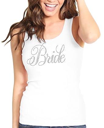 c076b31f18f73 Bridal Shower Bride White Shirt - Flirty Bride Rhinestone Tank Top - Bridal  Shower Supplies -