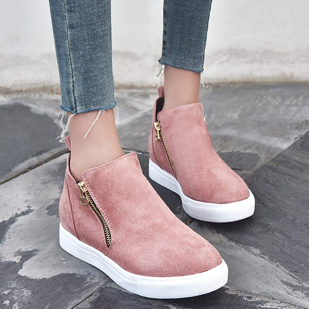 Womens Casual Short Boots,Ladies Solid Fashion Side Zipper Flat Booties Ankle Boot Shoes Plus Size Students Shoes