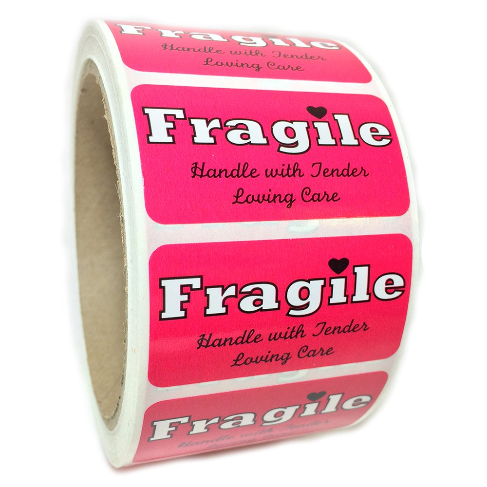 Pink ''Fragile Handle with Tender Loving Care'' Label - 1'' by 2'' - 500 ct