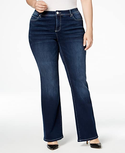 a63678da68 INC International Concepts Plus Size Slim Tech Spirit Wash Bootcut Jeans   Amazon.ca  Clothing   Accessories