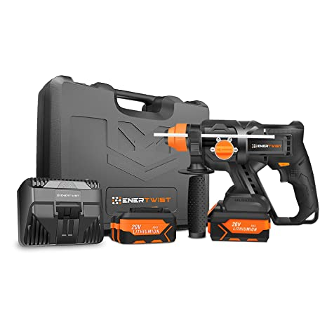 Amazon.com: EnerTwist 20V MAX Martillo inalámbrico SDS Kit w ...
