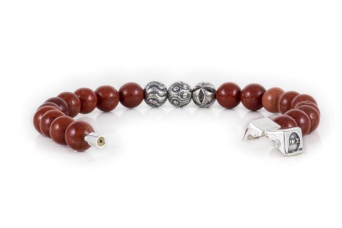 01b252e5a14d Rock Design Pulsera Hombre y Mujer Jaspe Rojo - Piedra y Plata con Broche de  Plata