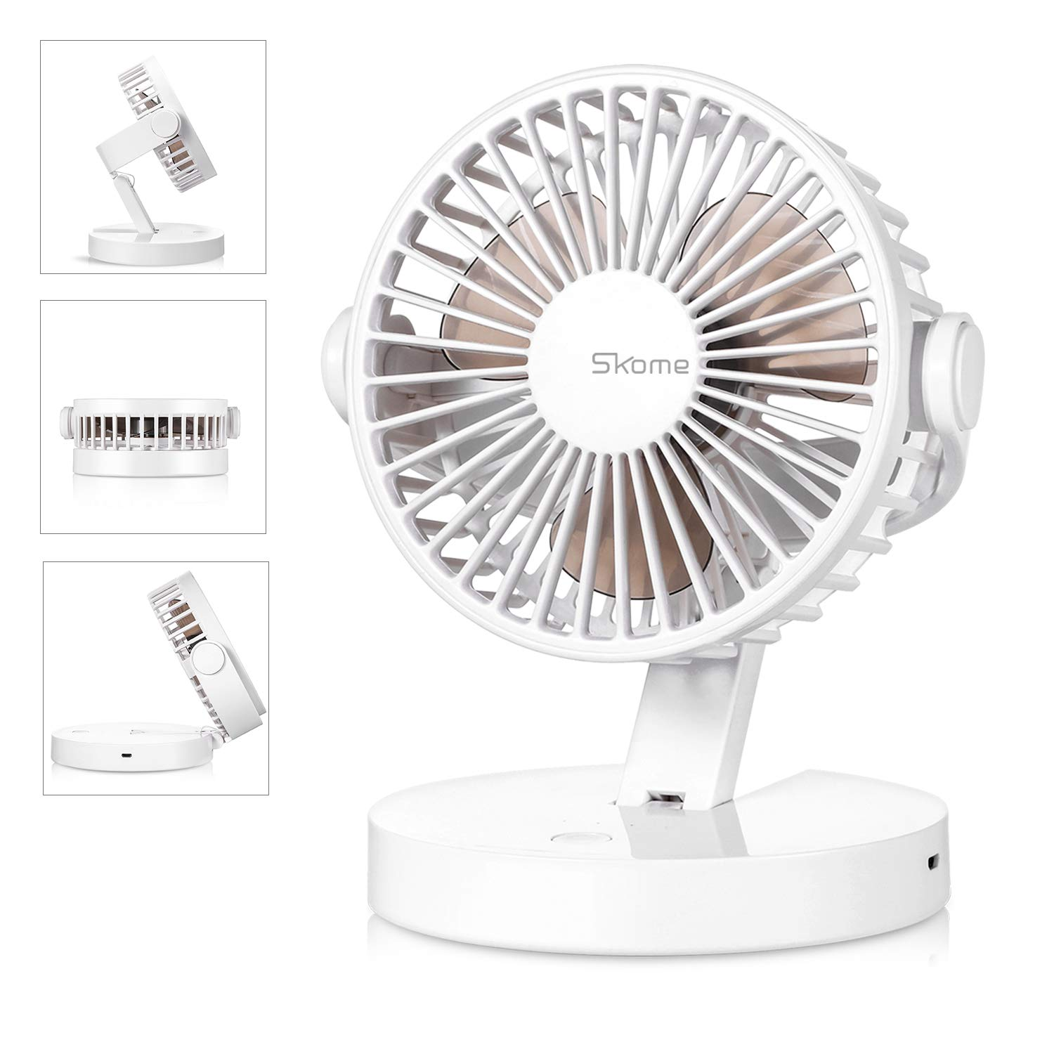 SKOME Battery Operated Fan Desk Fan Small Quiet with 3 Speeds Rechargeable or USB Powered Table Fan for Home, Office, Travel, Camping, White