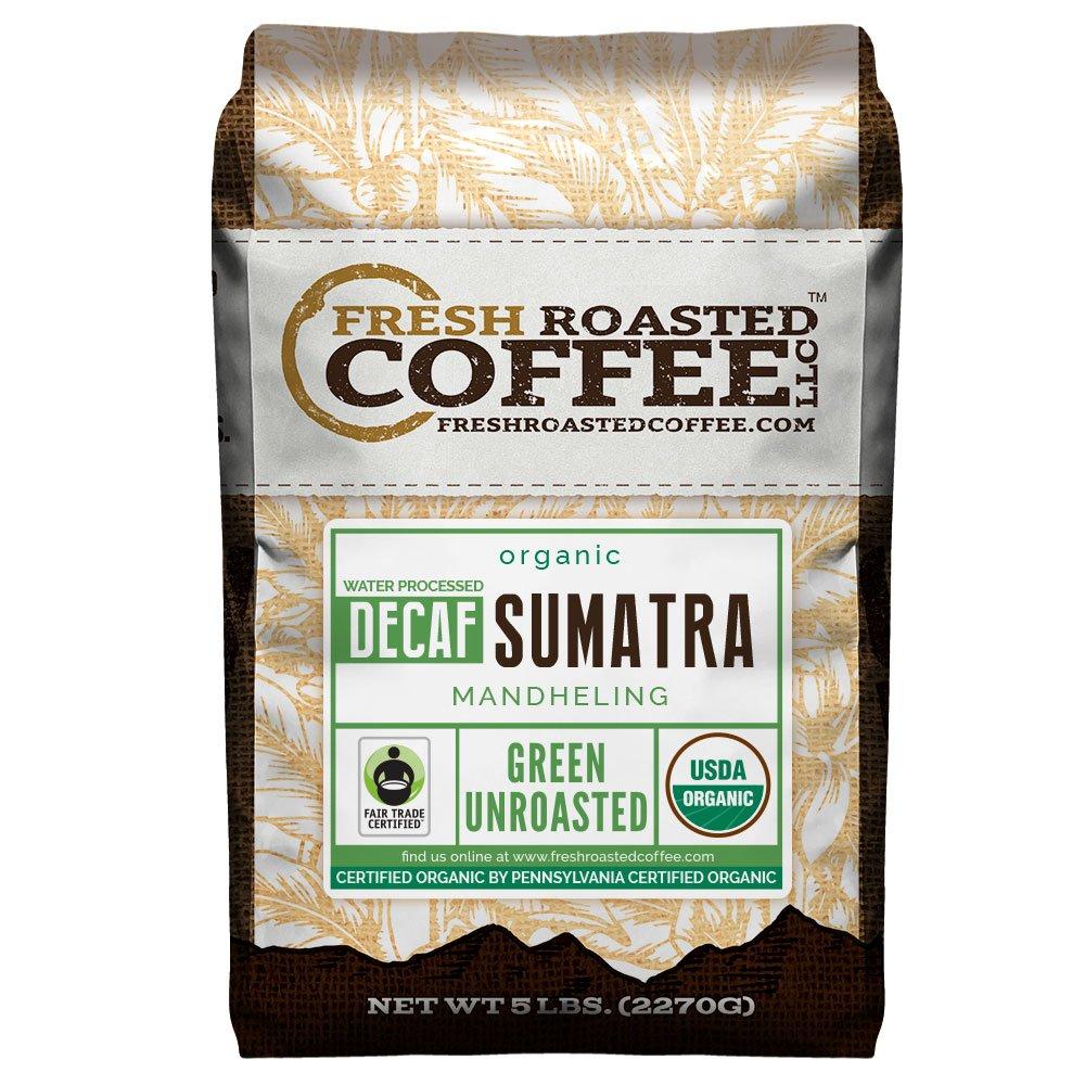 Fresh Roasted Coffee LLC, Green Unroasted Sumatra Decaffeinated Coffee Beans, Fair Trade, Swiss Water Process, USDA Organic, 5 Pound Bag by FRESH ROASTED COFFEE LLC FRESHROASTEDCOFFEE.COM