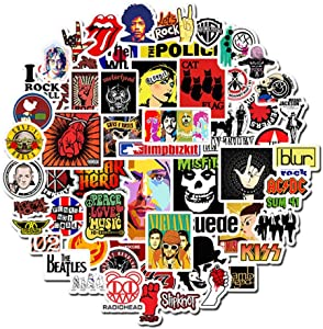 Band Rock Roll Laptop Stickers - Decals Vinyl Waterproof for Water Bottle Cars Motorcycle Bicycle Bumper Skateboard Luggage iPad Phone Case DIY Decoration Gift 52 pcs