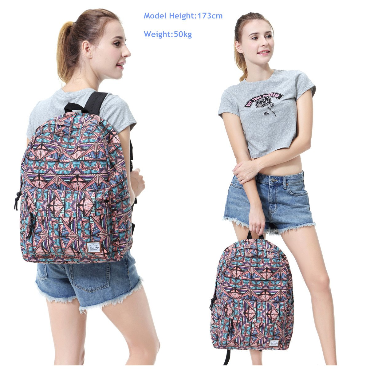 School Backpack for Teen Girls,Fashion Canvas Rucksack BookBag with Padded Laptop Sleeve by Vaschy (Image #7)