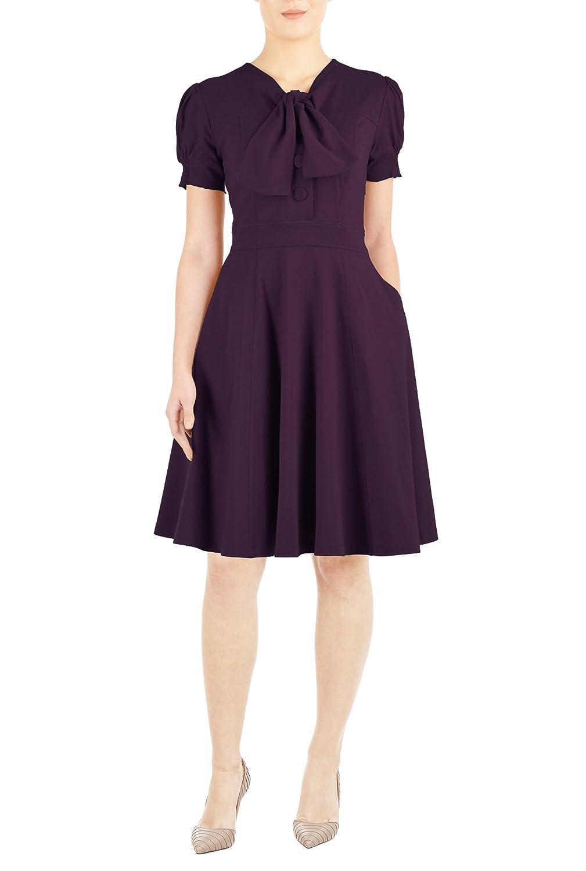 1940s Plus Size Dresses eShakti Womens Tie-neck cotton knit dress $56.95 AT vintagedancer.com