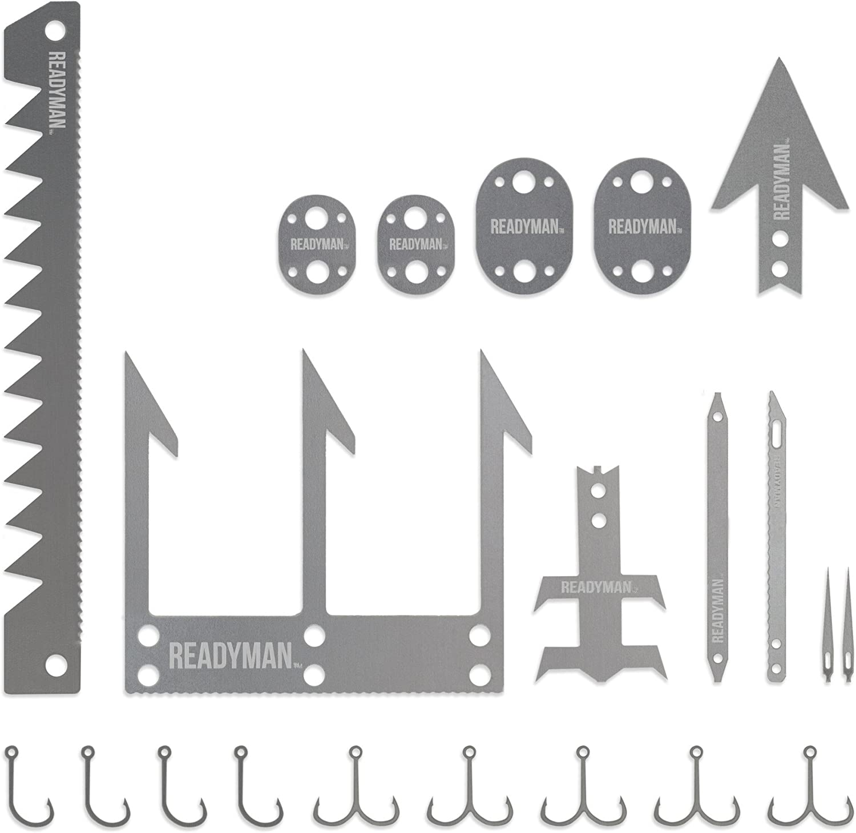 ReadyMan Wilderness Survival Card Fishhook Pfeil Snare locks Awl Needles Blades