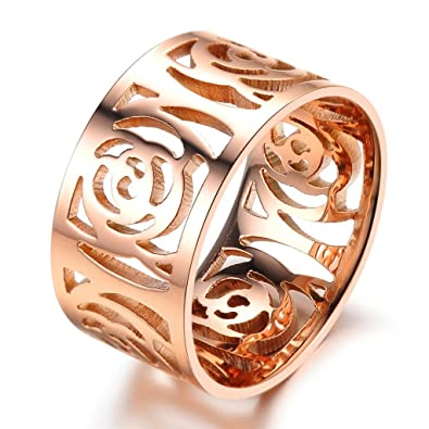 Feilok Elegant Women Stainless Steel Hollow Flower Camellia Band Ring, Rose Gold, 4 Ring Size Options