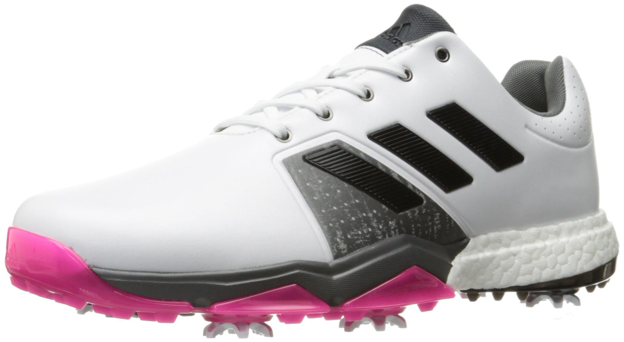 adidas Men's Adipower Boost 3 WD Golf Shoe, White/Black/Shock Pink, 7.5 W US