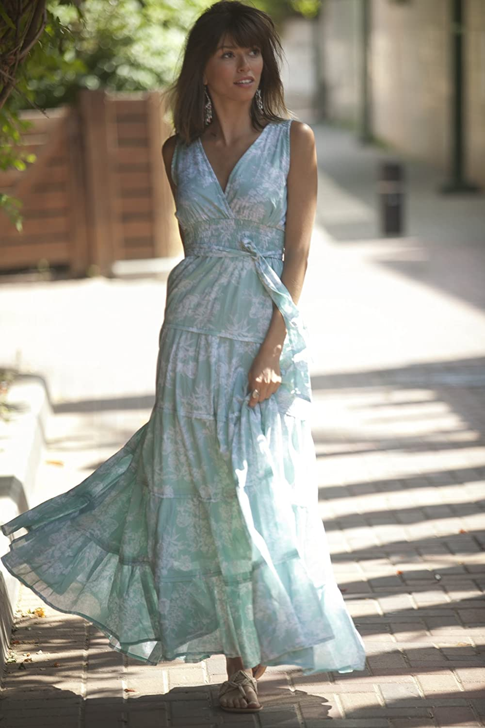 Light Turquoise Maxi Dress ,Unique Long Dress, Holiday Flower Cotton Maxi Dress, Hippie Urban Day Summer Dress, Romantic Women Dress