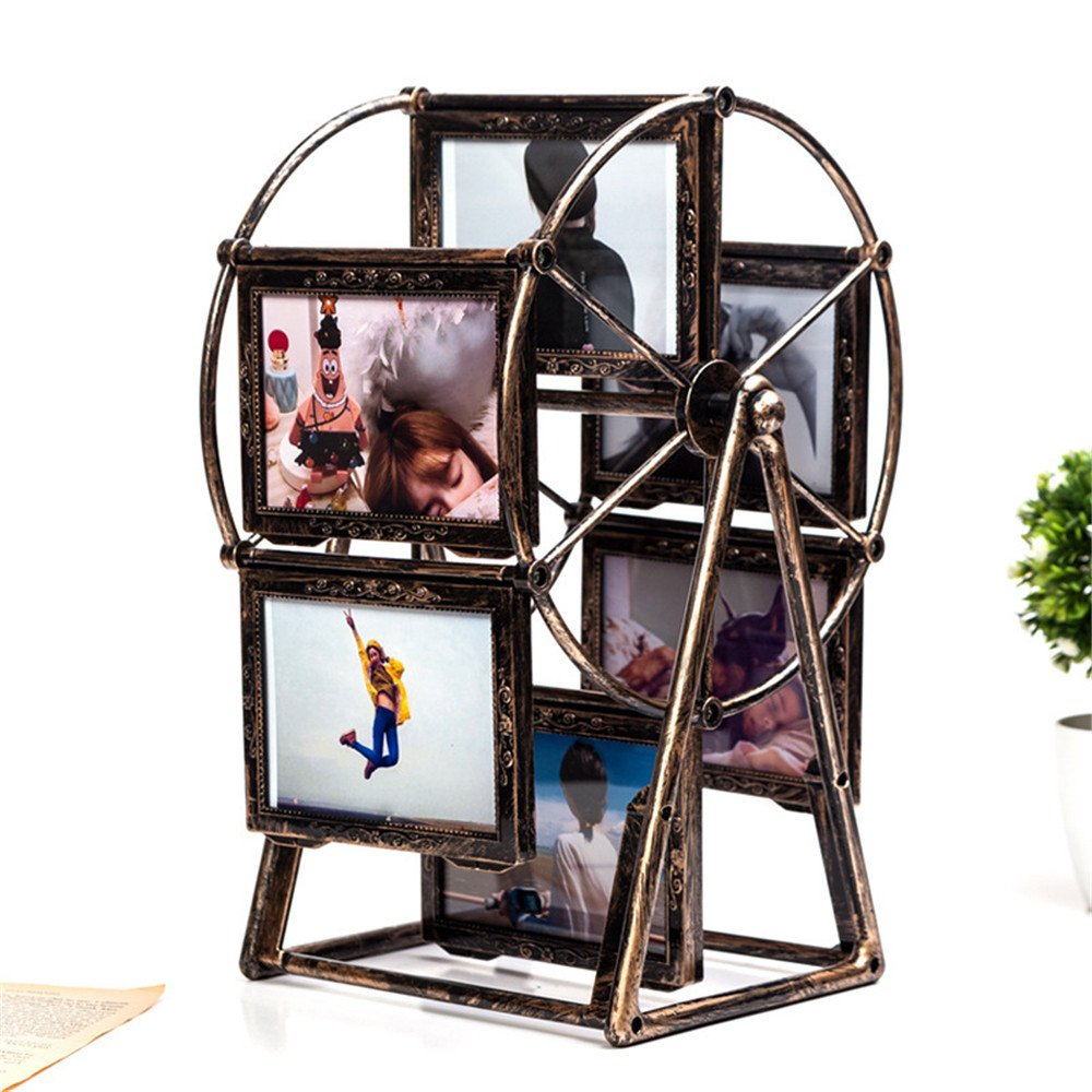 TanQiang 5Inch Ferris Wheel Rotate Picture Multi Frame European Retro Large Windmill Children Room Photo Frames Wedding Home Decor