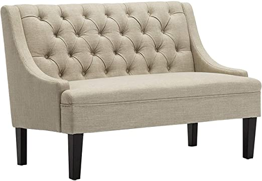 Modern Settee Button Tufted Upholstered Fabric Sofa Couch Loveseat Bench Ivory