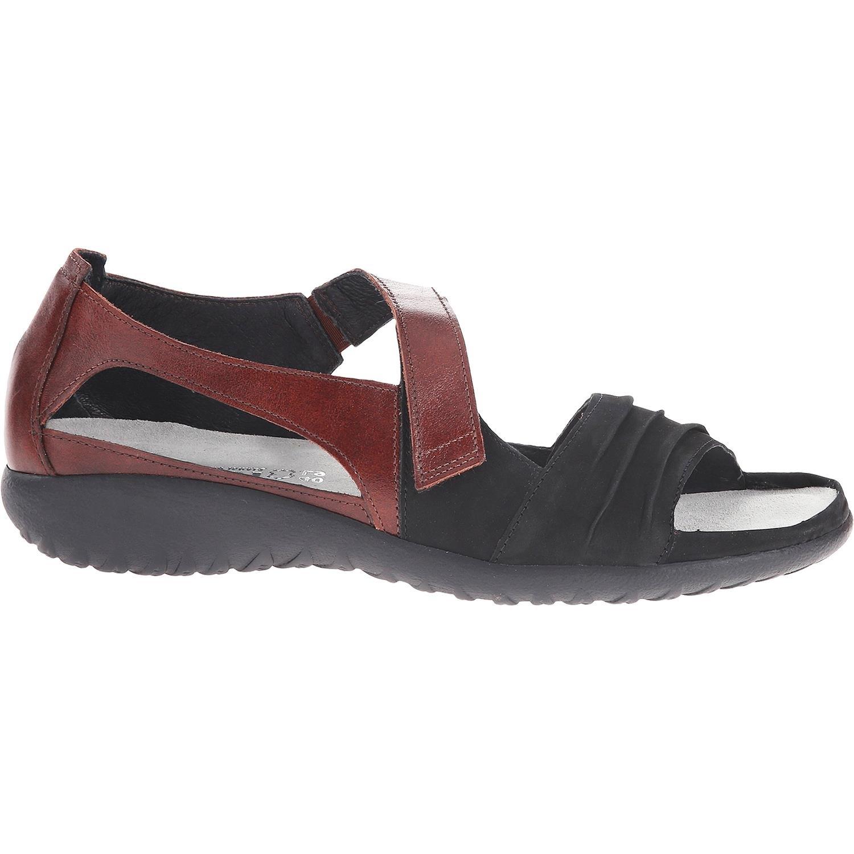 Naot Footwear Women's Papaki Black Velvet Nubuck/Cinnamon Leather Sandal 41 (US Women's 10) M