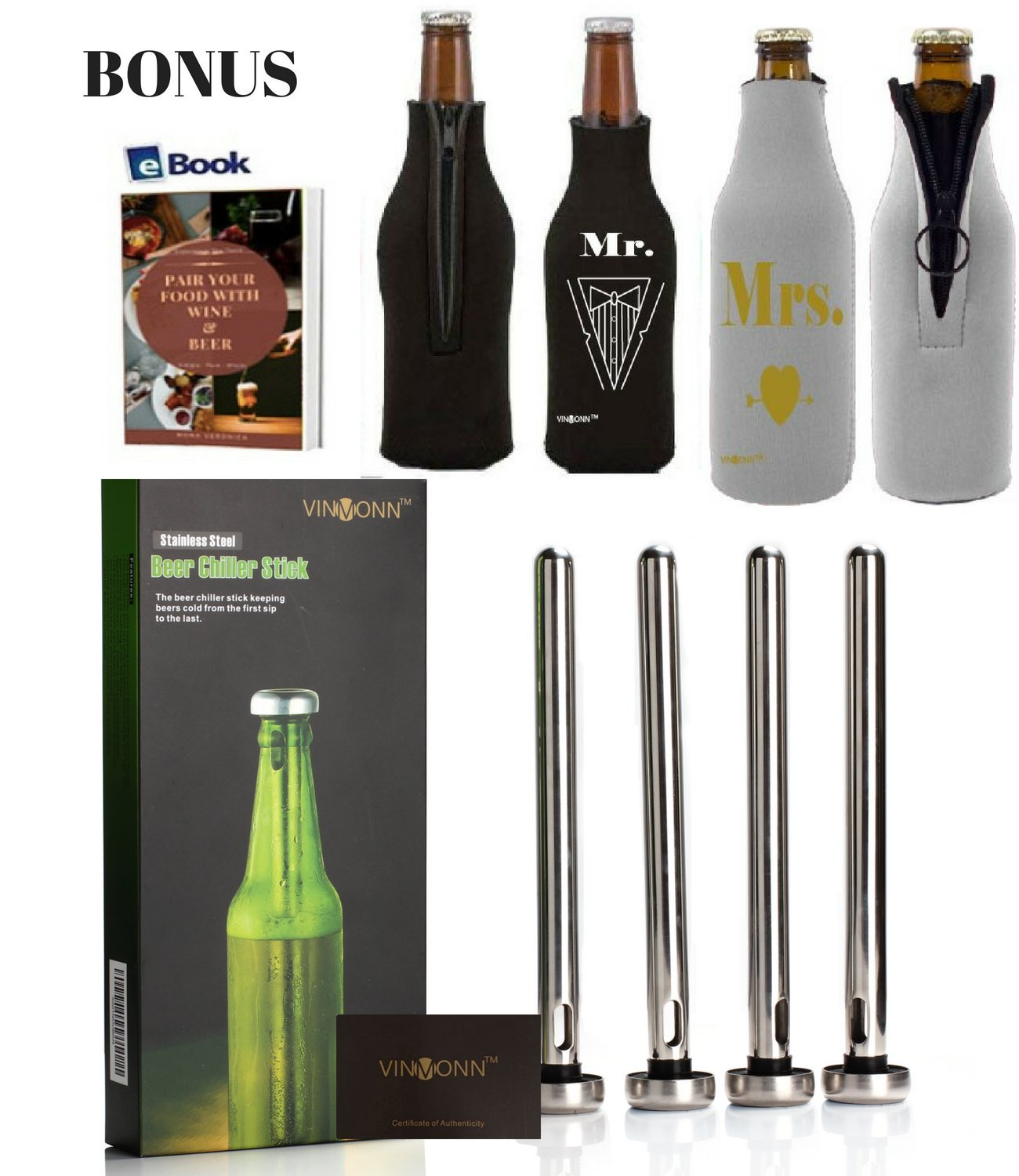 4 Beer Chiller Stick 2 Mr and Mrs Neoprene Insulated Beer Bottle Sleeve : Keep Beer Cold Longer :: Stainless Steel Beer Cooling Sticks