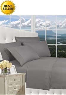 thread count queen size 4pc egyptian bed sheet set deep pocket gray