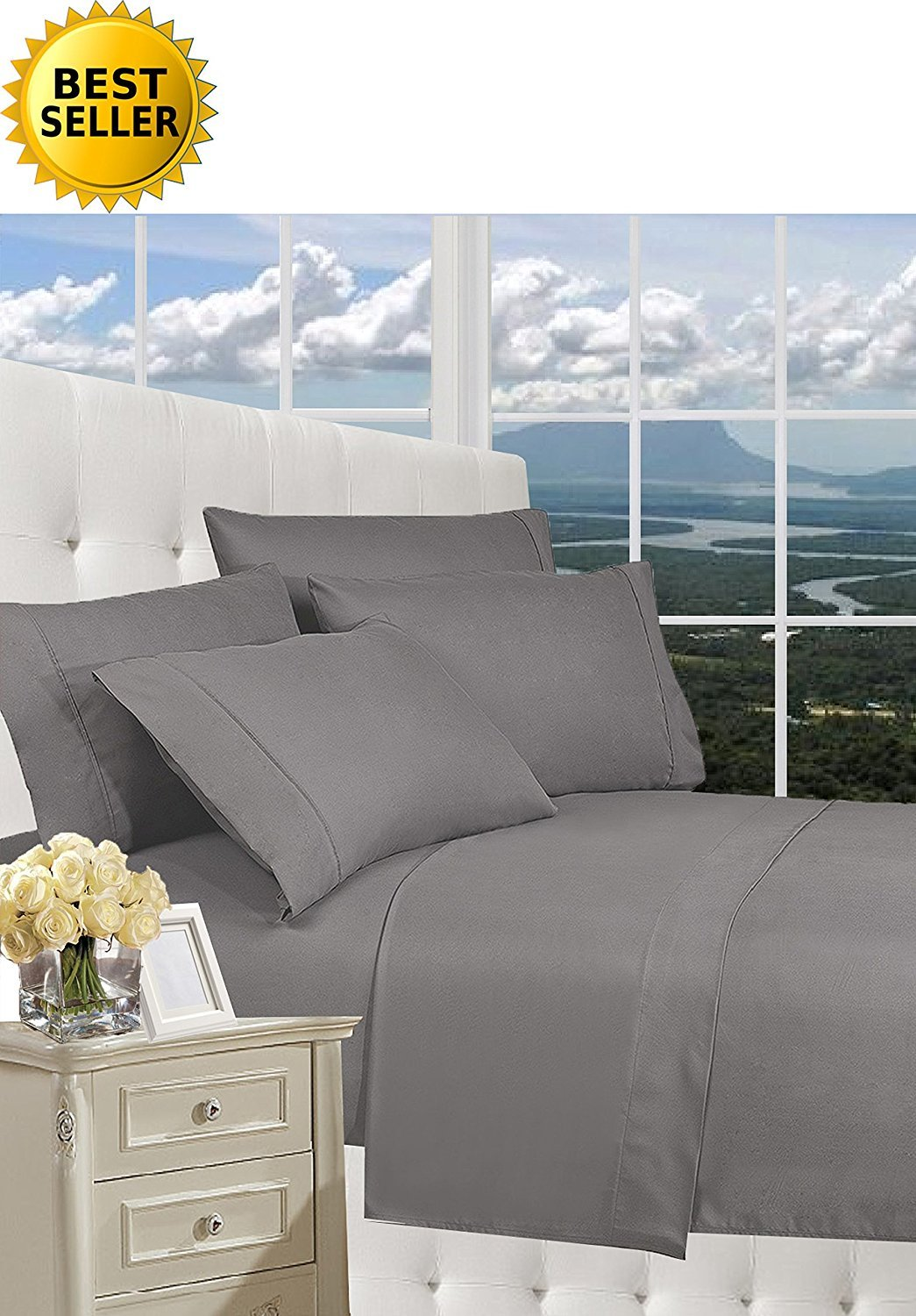 1500 Thread Count QUEEN Size 4pc Egyptian Bed Sheet Set, Deep Pocket, GRAY