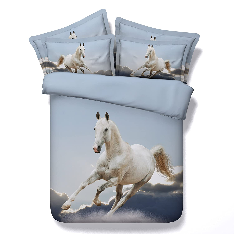 Dodou Horsesデジタルプリント布団カバーセット綿寝具セット4点(フル) B06XG2QZS9 3d Running