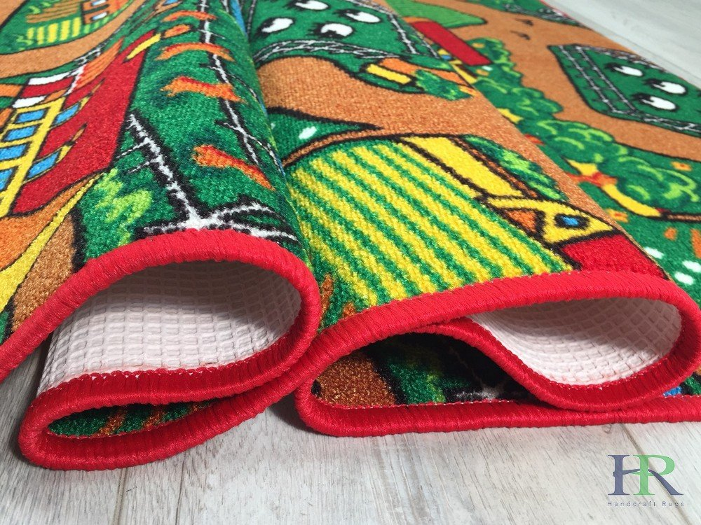 Handcraft Rugs Kids Rugs by My Farm Pattern of Road Driving Fun Brown/Green and Multi Anti Slip Rug/Game Carpets for Kids/Kids Toy/Kids learning Floor mat (Approximately 3 feet by 5 feet) by Handcraft Rugs (Image #5)