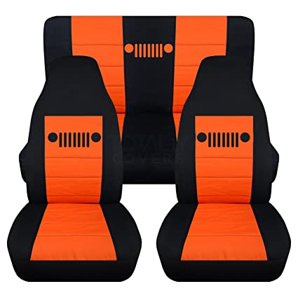 Nice 1997 2006 Jeep Wrangler TJ Seat Covers: Black U0026 Orange   Full Set: