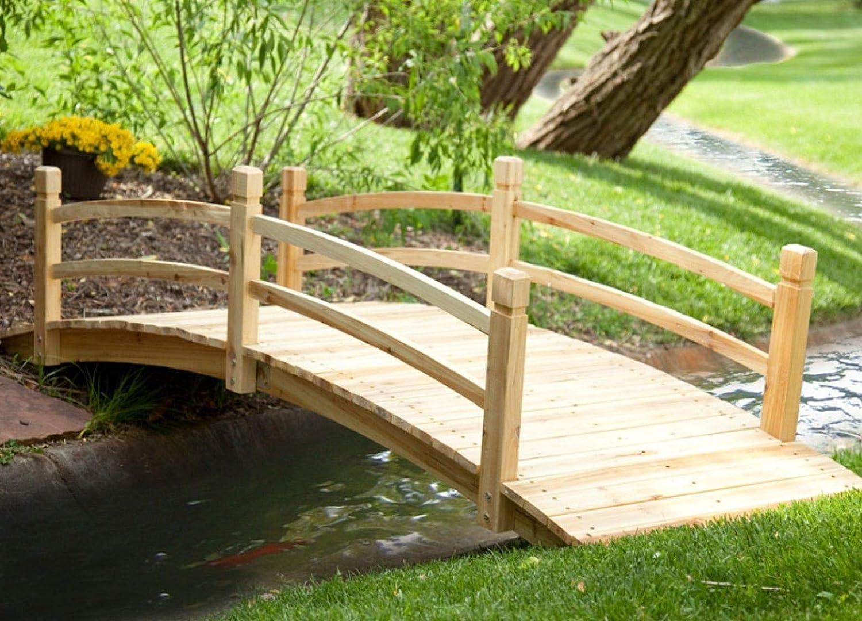Amazon Com Genevra Wooden Bridges For Yard Foot Bridge Landscape Bridge Adding Instant Charm To Your Garden 8 Ft Wood Garden Bridge Garden Outdoor