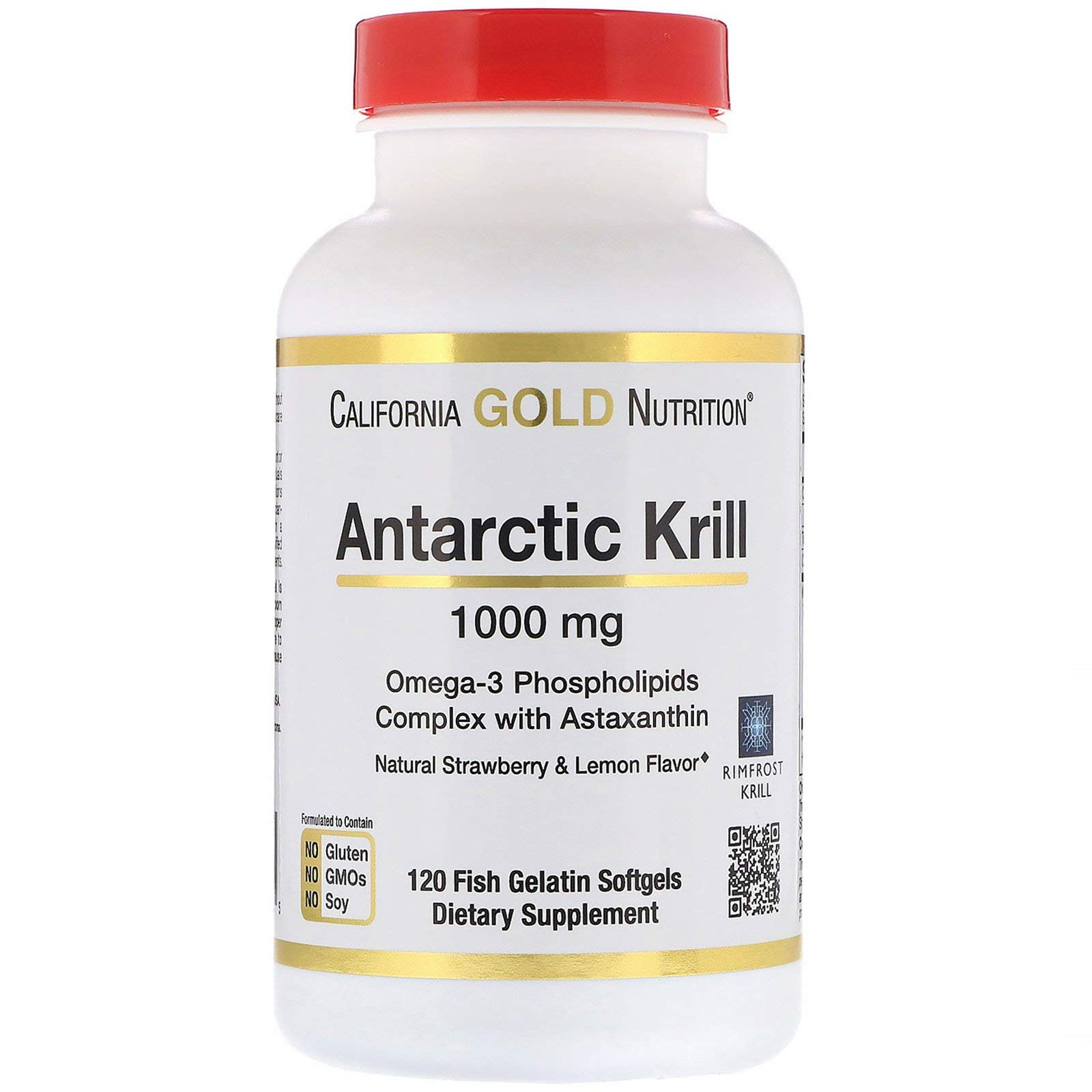 California Gold Nutrition Antarctic Krill Oil with Astaxanthin RIMFROST Natural Strawberry Lemon Flavor 1000 mg 120 Fish Gelatin Softgels, Milk-Free, Egg-Free, Gluten-Free, Peanut Free, Soy-Free, CGN by California Gold Nutrition