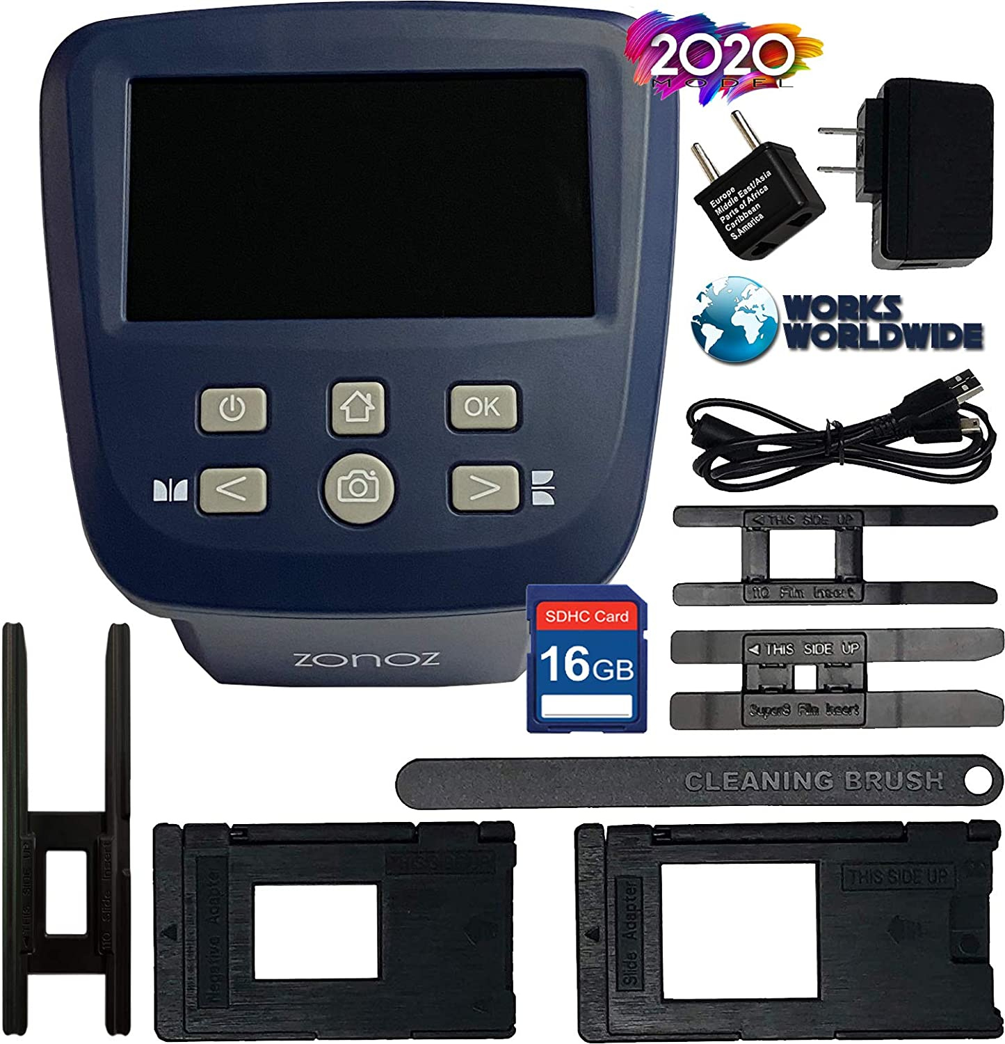 zonoz FS-Five Digital Film /& Slide Scanner Easy-Load Film Inserts Adapters Converts 35mm 110 Super 8 /& 8mm Film Negatives /& Slides to JPEG 16GB SD Card 126 Includes Large Bright 5-Inch LCD
