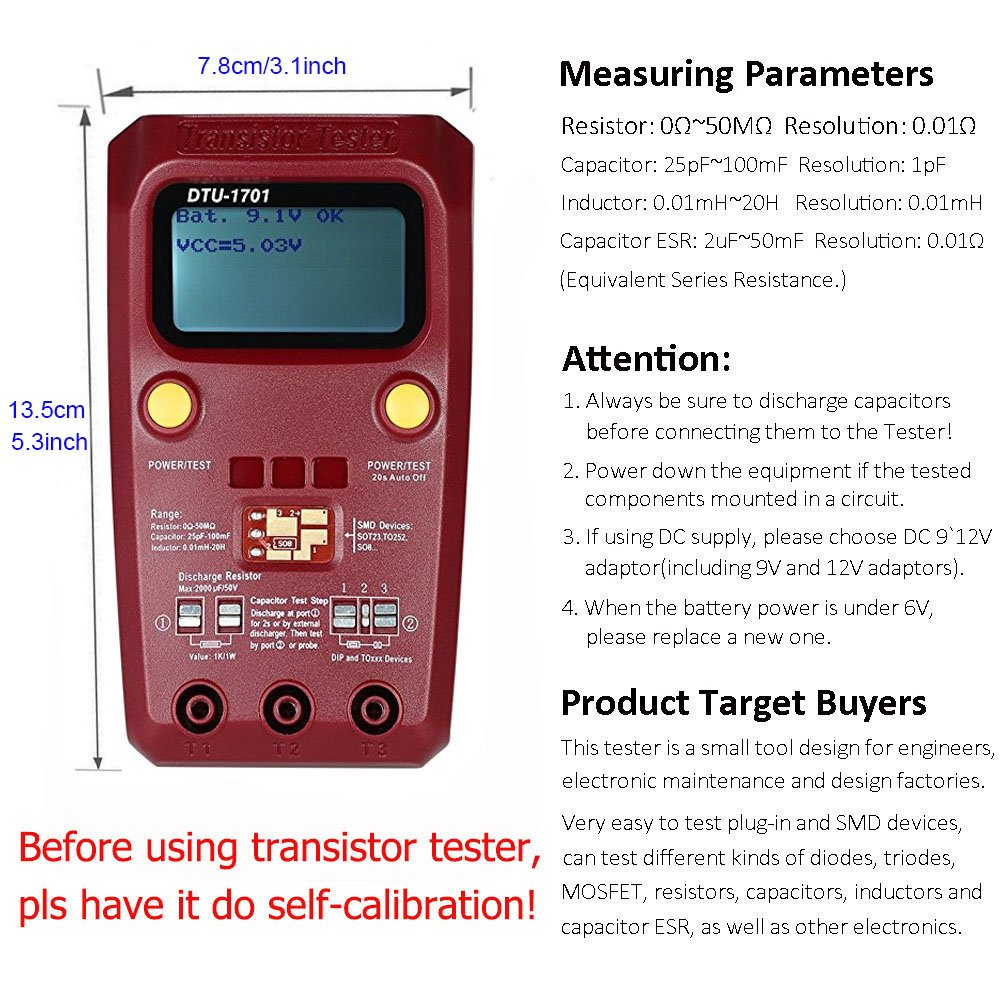 Transistor Tester Digital Multimeter Electronics Multi Thyristor Messen Widerstand Dioden Triodes Knnen Mosfet Analysieren Das Gert Typ