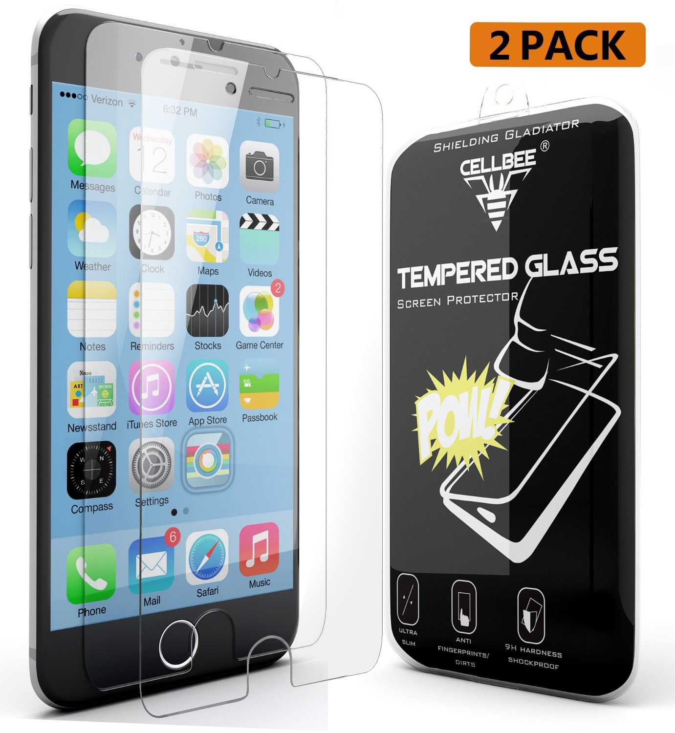 Iphone 6S Screen Protector Cellbee 2 Pack [Shielding Gladiator] Tempered Glas.. 14