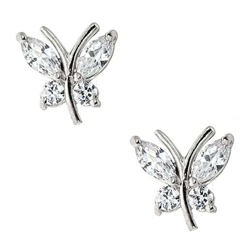 e77d92e1c9169 Amazon.com: Ritastephens 10k Real White Gold Mini Butterfly Post ...