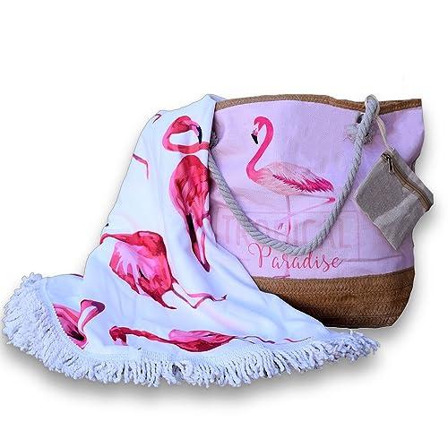 Bolso+toalla+monedero gran capacidad diseño flamenco 2018 con asas de cuerda marinera: Amazon.es: Zapatos y complementos