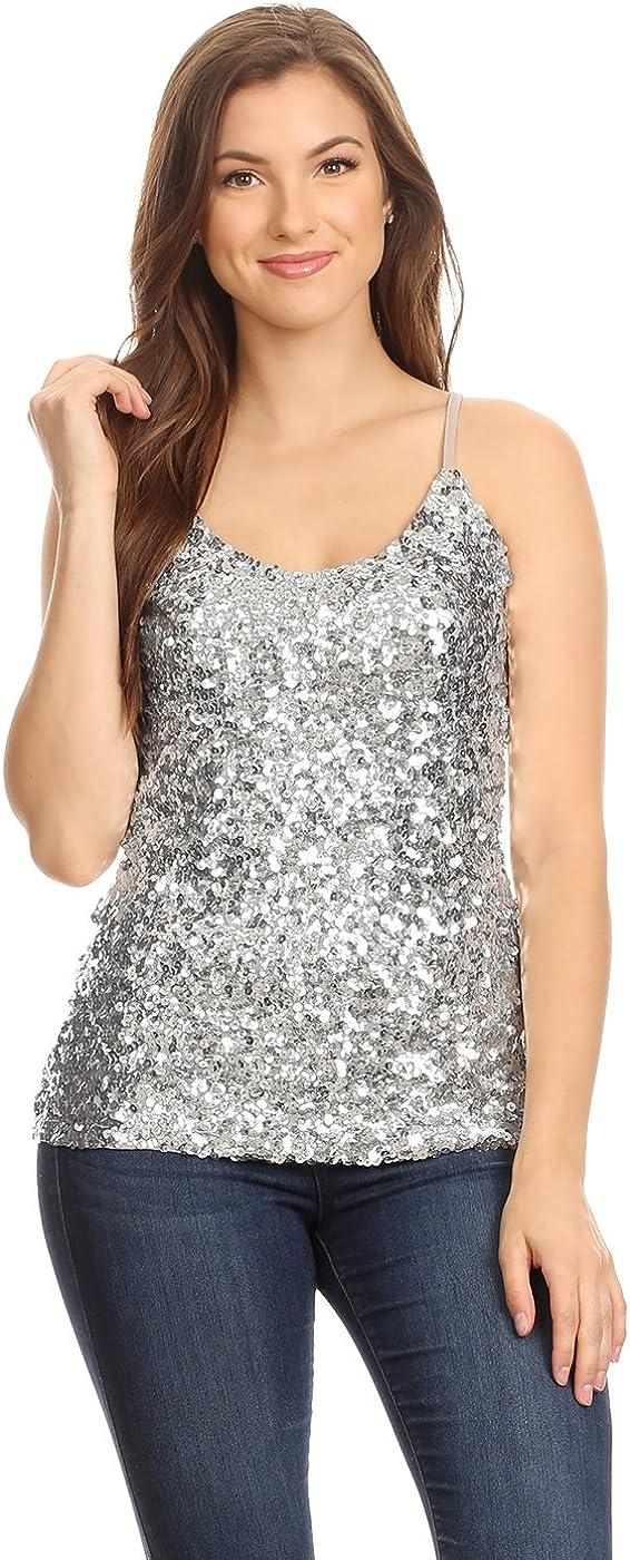 Anna-Kaci Camiseta sin mangas plata brillante brillante de las lentejuelas tirante de espagueti