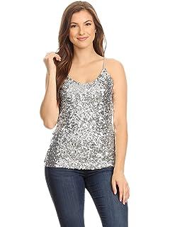 b5bf5e2c Anna-Kaci Womens Shimmer Sequins Club Spaghetti Strap Camisole Vest Tank  Tops