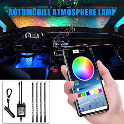 Car LED Strip Lights, 4pcs 48 LED Bluetooth App Controller Interior Lights Multi Color Music Car Strip Light Under Dash Lighting Kit with Sound Active Function for Smart Phone: Automotive