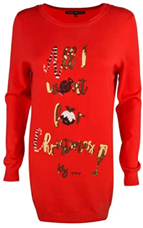 395efb7ba31 Womens Sequin Novelty All I Want For Christmas Jumpers Ladies Knitted Tunic