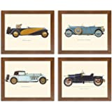 Art Street - 'Vintage Car, Bugatti-Mercedes-Delage-Hispano' Framed Poster Set of 4.