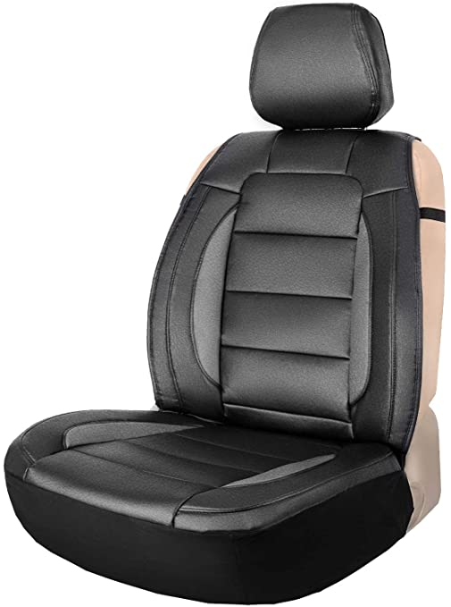75e9be4d30 Amazon.com: Leader Accessories Black/Grey One Leather Seat Cover Universal  Sideless Cushion for Car Truck SUV Front Seats: Automotive