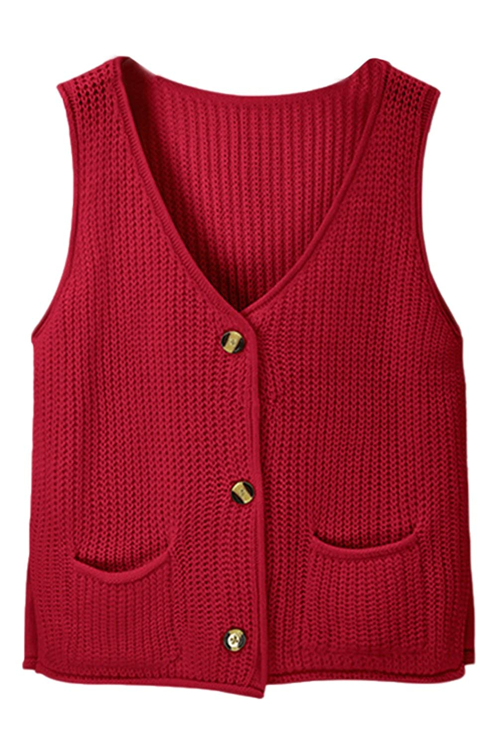Women's Knit Buttons Jacket Waistcoat Sweater Vests With Pockets CATNCJJ7-Black-F